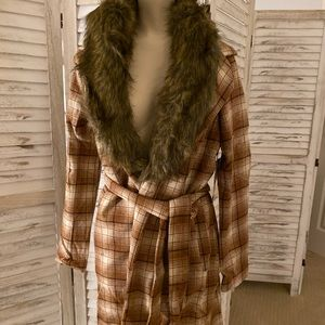 NWT forever 21 plaid jacket removable fur collar s